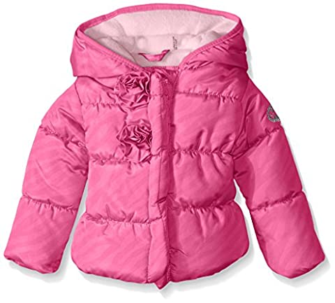 Steve Madden Baby-Girls Infant Flocking Printed Pongee Puffer Jacket, Pink Moon, 18 Months - Satin Puffer