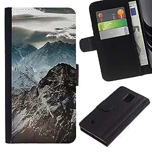 YiPhone /// Tirón de la caja Cartera de cuero con ranuras para tarjetas - Oscuras Montañas Rocosas - Samsung Galaxy Note 4 IV
