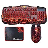 Gaming Keyboard and Mouse Combo Bluefinger USB Wired Lighted Keyboard 3 Color Blue/Red/Purple LED Backlit Crack Keyboard and Mouse Set for Computer Gamer Office