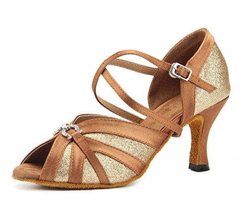 Party Toe Miyoopark Girls Latin Heel Shoes Formal Brown Peep Dance Glitter Womens 5cm Sandals 7 tqgazxq