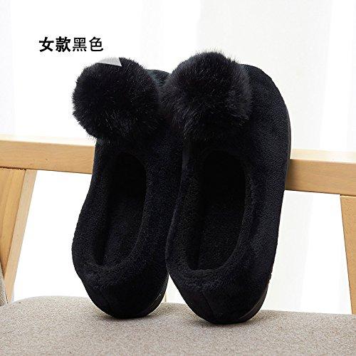 Y-Hui autunno e inverno caldo con le scarpe con le suole spesse Arredo Casa di slittamento grazioso sacchetto di cotone pantofole in inverno,Suggerimento: la dimensione è piccola,Nero