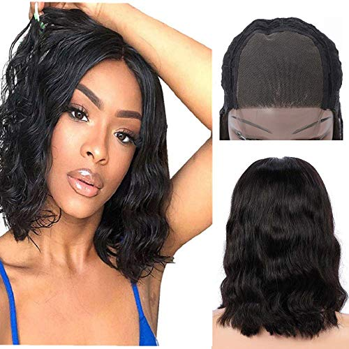- Brazilian Virgin Lace Front Wigs Human Hair, Short Wavy Human Hair Bob Wig- 150% Density Body Wave Glueless Pre Plucked Lace Frontal Wigs With Baby Hair Natural Color(10'' 4x4 wig)