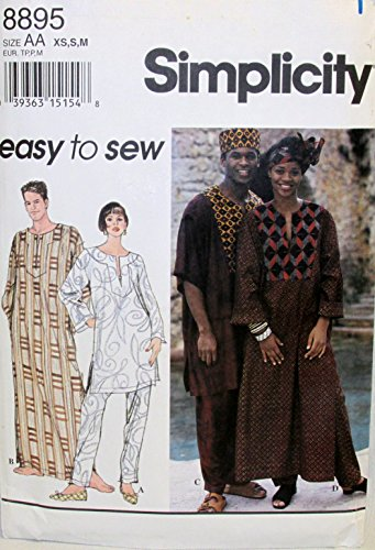 - Simplicity 8895 Sewing Pattern Misses & Mens Caftan Top Pants Hat Headwrap Bust / Chest 30 - 40