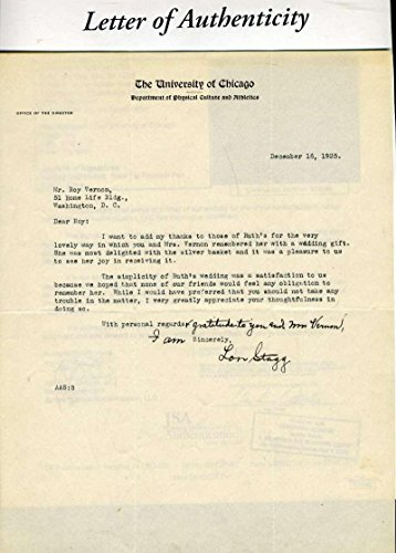 - ALONZO STAGG COA Autograph 1925 Univ Chicago Letter Hand Signed Authentic - JSA Certified - NFL Autographed Miscellaneous Items