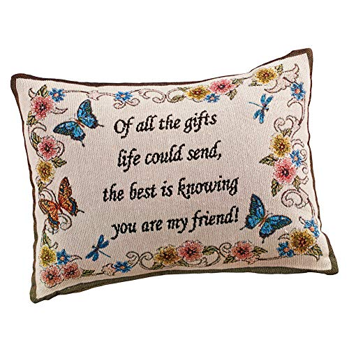 Collections Etc My Friend Tapestry Weave Throw Pillow Decorative Gift - Butterflies, Flowers, Written - Tapestry Pillows Friends