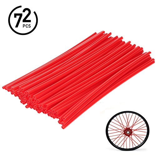 72Pcs Universal Spoke Skins Covers - Ovelur Wheel Spoke Wraps Skins Pipe Trim Decoration Protector For Motorcycle Dirt Bike Yamaha Honda Harley Suzuki(Red)