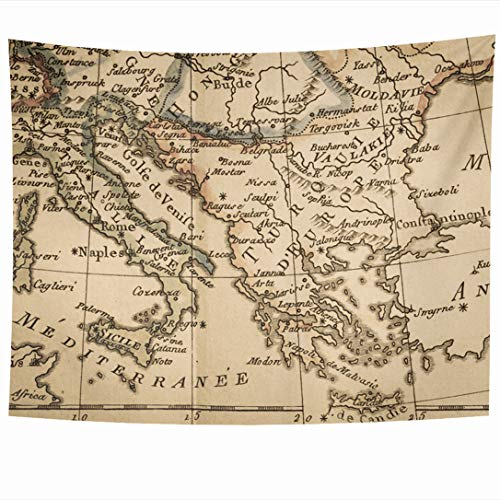 Ahawoso Tapestry 80x60 Inch EU Antique Old Map Italy Greece World 18Th Century Albania Bosnia Continent Design Tapestries Wall Hanging Home Decor for Living Room Bedroom Dorm (18th Century Tapestries)