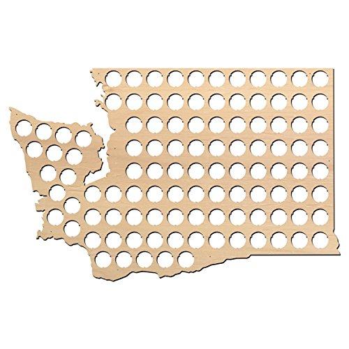 Washington Beer Cap Map - 23x14.8 inches - 106 caps - Beer Cap Holder Washington - Birch Plywood - Large Size