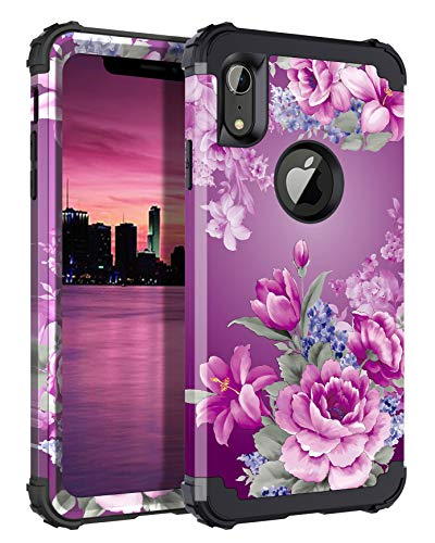 LONTECT Compatible iPhone Xr 2018 Case Floral 3 in 1 Heavy Duty Hybrid Sturdy Armor High Impact Shockproof Protective Cover Case for Apple iPhone Xr 6.1 Display, Black/Purple Flower