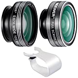 Neewer 3-in-1 Clip-on Lens Kit for Android Tablets,ipad,iphone,Samsung Galaxy and other Smartphones,Included:180 Degree Fisheye Lens+2 in 1 Macro Lens and Wide Angle Lens+Soft Rubber Lens Holder