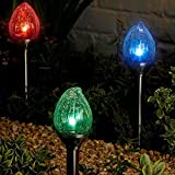 Garden MIle 4x Large Glass Torch Flame Garden Lighting, Solar Lights Garden LED Solar Lights Outdoor. Colour Changing LED Pathway Lights Solar Lights Garden Ornaments.