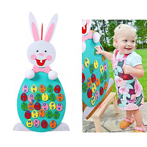 Aytai DIY Felt Bunny with 26pcs Alphabet for Kids Letter Matching Games, Preschool Educational Toys for Toddlers Birthday Gifts Party Games Home Wall Hanging (Easter Bunny Crafts For Preschoolers)