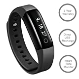Lifesense Band 2 Fitness Band with Heart Rate monitor + Smart Activity tracker + Call alert for Android and iPhone (Black)