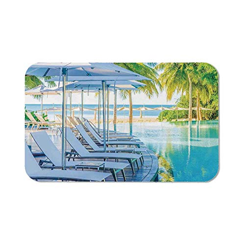 House Decor Office Mouse Pad,Luxury Hotel Pool Near Beach Palm Trees Exotic Resort Umbrella Sunbed Chair for Office Computer Desk,11.81''Wx27.56''Lx0.08''H ()