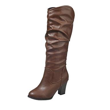 Stiefel Damen Boots Leder Boots Frauen Winter Plüsch Stiefel High Heel  Combat Boots Wild Outdoor Freizeitschuhe Party Mittel Stiefeletten ABsoar   Amazon.de  ... d0358a3917