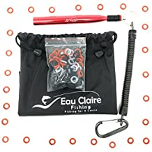 """Eau Claire Fishing Red Wacky Worm Rig Tool w/ 110 Assorted Color 4 & 5 Inch O-Rings Kit, Fits Up To 8"""" Soft Plastic Rubber Worms, O Ring Tube Senko Style Stick Bait Lure with Orings Good for Bass Fish"""