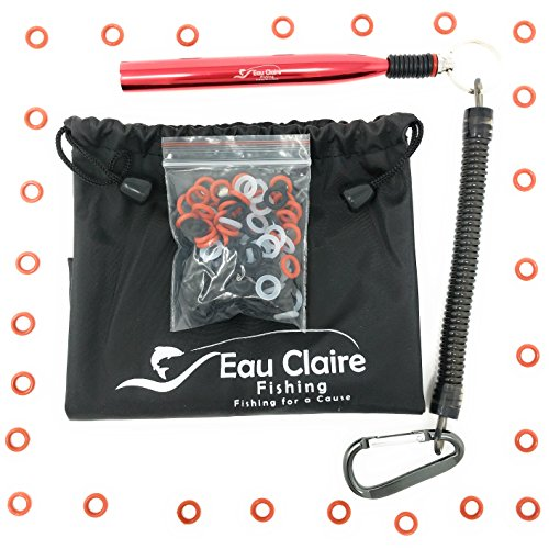 Eau Claire Fishing Red Wacky Rig Tool with 110 O-Rings Kit, Fishing Wacky Tool