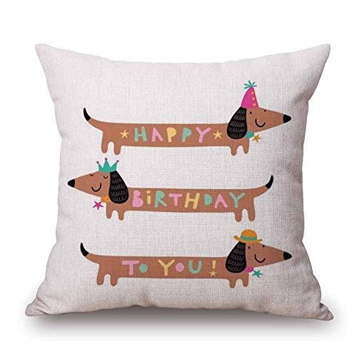 HandyCase Christmas Festival Dachshund Cushion Cover 45X45cm Happy Birthday Sausage dog Pillow Cases Kids Gift Bedroom Sofa Decoration - Pattern 1