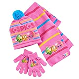 Shopkins Winter Wear Scarf, Hat, and Glove Set. Touch Screen Gloves. Featuring Apple Blossom, Kooky Cookie, and D'Lish Donut
