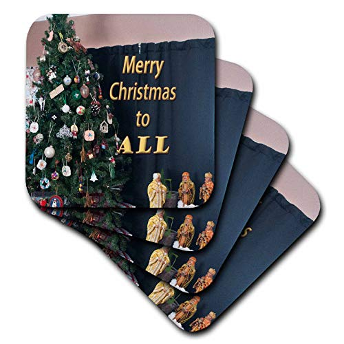 (3dRose Jos Fauxtographee- Merry Christmas to All - Merry Christmas to all with a Tree and Three Wisemen - set of 4 Ceramic Tile Coasters (cst_293363_3) )