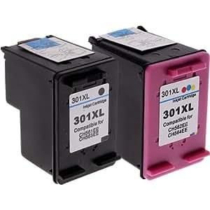 The Cartridge Refill Centre CH563E CH564E - Cartuchos de tinta HP 301 XL reciclados, 1 cartucho de tinta a color y 1 cartucho de tinta negra