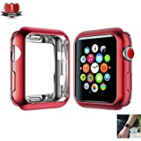 PHAETON - For Apple Watch Case 42mm, TPU Plating Lightweight Protection Scratch Resistant Soft Flexible,for Apple Watch All Series Series 3 Series 2 Series1 - Red, 42mm