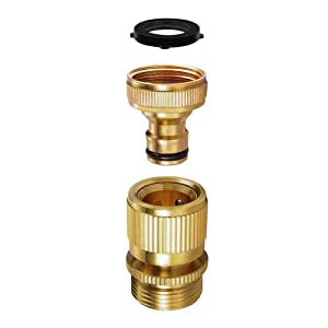 SANCEON Garden Hose Quick Connect, 1 Set (2PCS) 3/4 inch GHT Solid Brass No-LeakGarden Hose Connector Fitting, Easy Connect and Release Adapter Set, Male and Female(1 Pair)