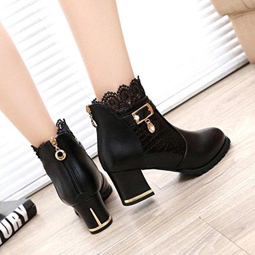 Lace Boots Ankle Artificial Heel Zipper Block with Leather Black Women's Boots Xjp Platform wgzBxPqP