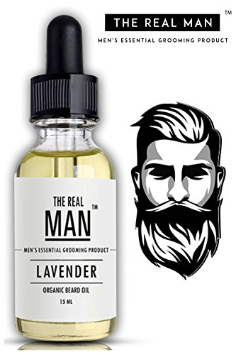 Oil Oil Free (Beard & Mustache Oil Lavender for Hair Growth With Olive Oil | Vitamin E | Tea tree Oil| Jojoba Oil | Almond Oil | Sandalwood Oil & free of sulphate & Paraben 100% Organic 15 ml by THE REAL MAN)