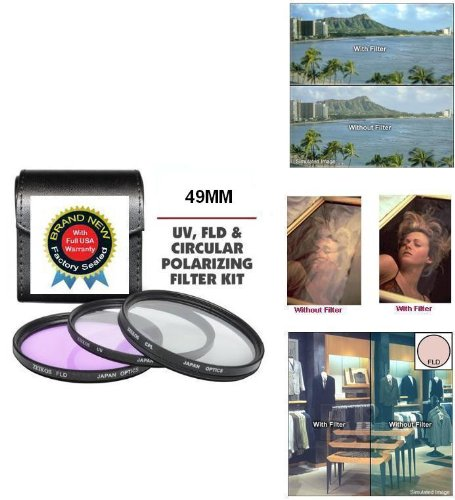 49MM Professional HD 3 Piece Filter Kit Includes Polarized PL + UV + FD Filter Kit For Sony Alpha NEX-3, NEX-5, NEX-C3, NEX-5N, NEX-,7 NEX-5R, DSC-RX1/B, DSC-RX1, DSC-RX1R/B, DSC-RX1R Digital Camera -  ButterflyPhoto, AMAZ0683