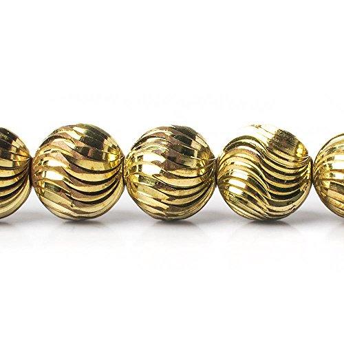 12mm Brass Fluted Round Beads, 8 inch ()