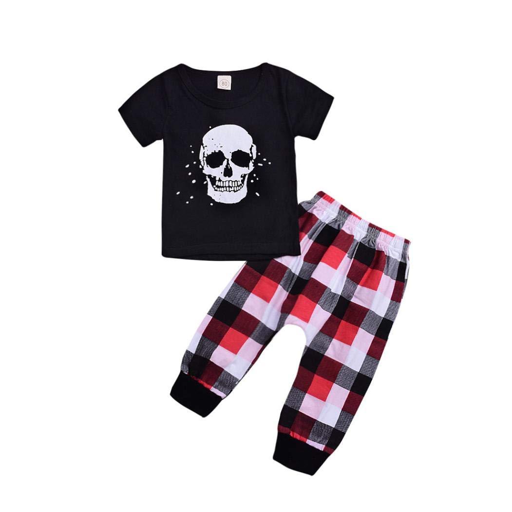 K-youth Ropa Bebe Niño Invierno Otoño Conjunto Bebé Recién Nacido Niña Calavera Impresión Camiseta de Manga Corta Tops y Pantalones 0-4 Años Traje de Bautizo Fiesta Ceremonia