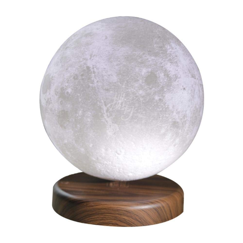 fanhangxuan 3D Print Moon Light Bedroom Touch Night Light Romantic Creative Magnetic levitation, 15cm Walnut