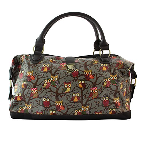 Oil Cloth Owl Floral Ladies Tote Shopper Shoulder Bag-X1262 Grey