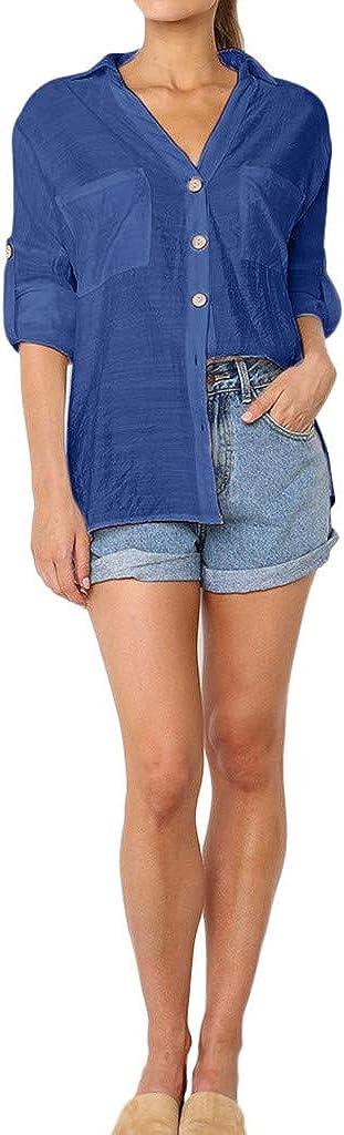 TOPUNDER Casual Long Sleeve Loose Tunic Blouse Shirts BlouseWomen