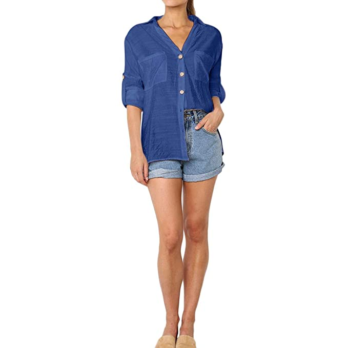 Pan Hui Women Solid Long Sleeve Pocket Button Loose Bat Wing Plain Tunic  Shirt Blouse at Amazon Women s Clothing store  94e5e4f165