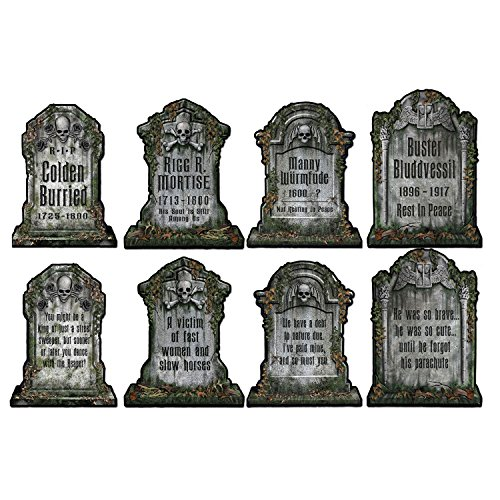 - Beistle S01516AZ2 Tombstone Cutouts, Multicolored