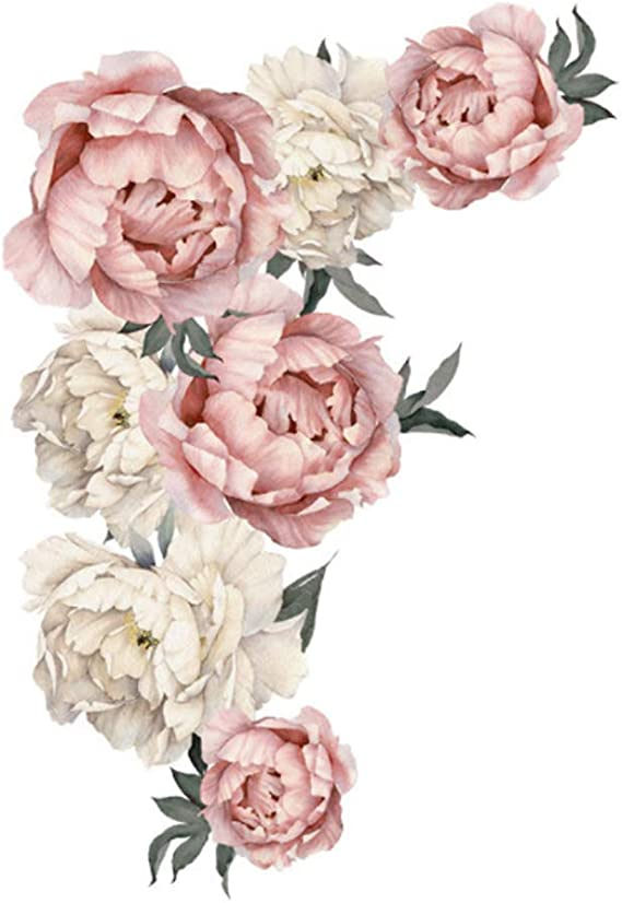 Peony Flower Wall Sticker Living Room Removable Decal Mural Cafe Decoration Myst