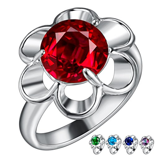 FENDINA Womens Silver Plated Gorgeous Flower Manmade Round Cut Sapphire Solitaire Promise Engagement Wedding Bands Eternity Collection Anniversary Rings for Her Valentin's Day (Artcarved Wedding Bands Round Ring)
