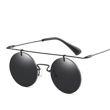 Retro Sonnenbrille Persönlichkeit Metallrahmen Runde Rahmenlose Fahren Entspiegelte Sonnenbrille,Blue