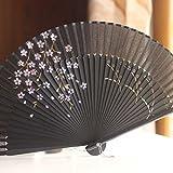 Labu Store Silk Hollow Rib Hand Fan Japanese Folding Fan Pocket Sakura Painted Dance Fan Unisex