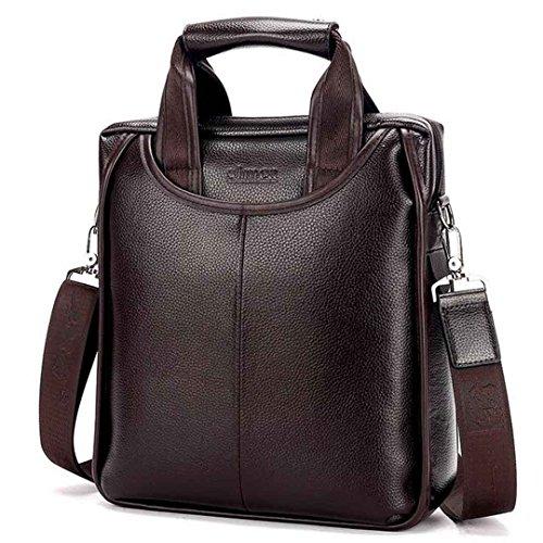 SANKA Vintage Herrentasche Arbeitstasche PU Notebooktasche mit Schultergur Schwarz Braun