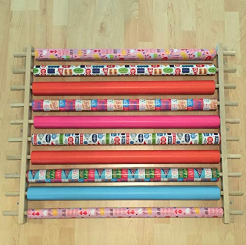 Gift Wrapping Paper Station/Organizer/Dispensing Rack. Ribbons, Cellophane or Any Other Gift Wrap or Crafts Items on a Roll. Holds 10 Rows. Adjustable Width. Easy Wall Mount. Hardware Included.