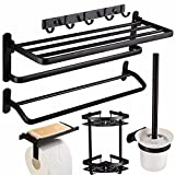 Free punching towel rack, space aluminum black bathroom rack, bath towel rack, bathroom hardware, bathroom pendant set,D