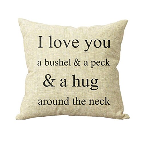 Home Decor Pillow, GillberryVintage Cotton Linen Pillow Case Sofa Waist Throw Cushion Cover Home Decor (I love You)