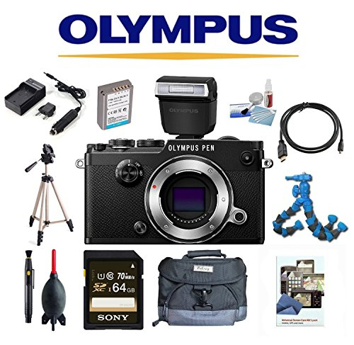 Olympus PEN-F Body (Black) w/ Olympus FL-LM3 Flash + 64GB + Tripod + Flexpod + Case + Full Accessory Pack
