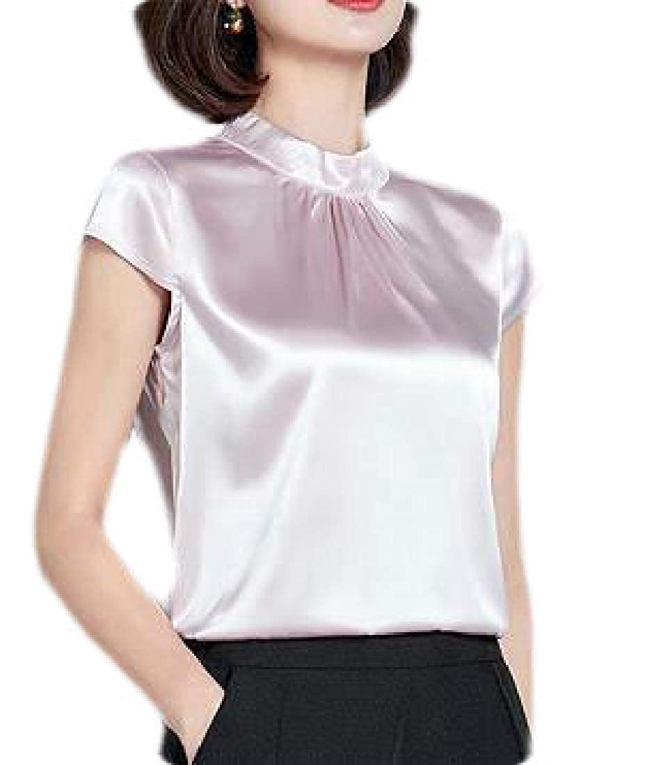 Zantt Womens Stretch Short Sleeve Plus Size Pure Color Stand Collar T-Shirt Tee Top