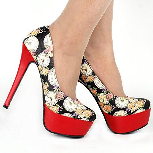 Mostrar historia Colock Floral elegante plataforma tacón alto de aguja vestido bombas, LF80839 Rojo - rojo