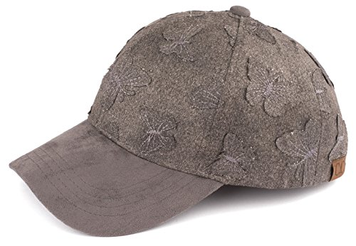 H-6BA3-70121 Butterfly Patch Embroidered Faux Suede Leather Baseball Cap - ()