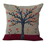 ChezMax Linen Blend Flowers&Tree Pattern Sofa Seat Cushion Cotton Square Decorative Throw Pillow Cushion 18 X 18''